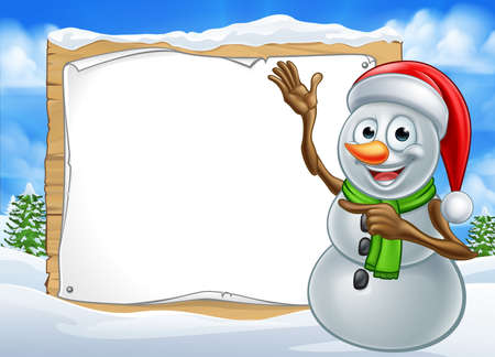 A happy Christmas snowman cartoon character in a winter scene pointing at a sign Ilustracja