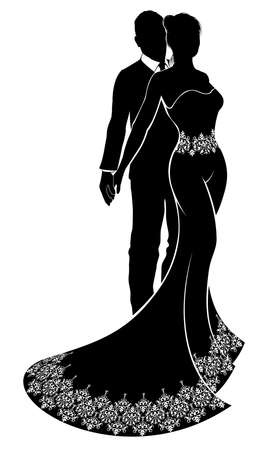 A bride and groom wedding couple in silhouette with the bride in a patterned bridal wedding dress gown with an abstract floral pattern concept Vettoriali