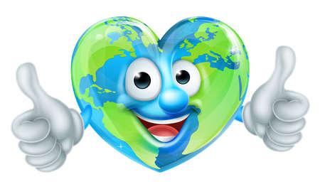 귀여운 행복 만화 마음 모양의 지구 세계 마스코트 캐릭터 엄지 손가락을 포기