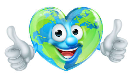 A cute happy cartoon heart shaped earth world mascot character giving a thumbs up
