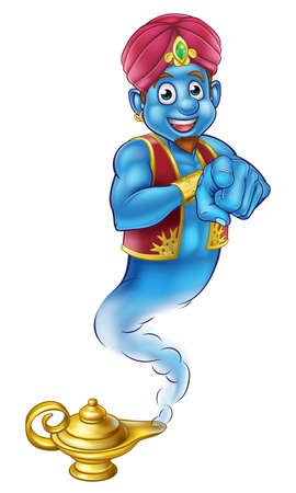 An cute looking genie cartoon character like in the story of Aladdin coming out of a magic lamp and pointing