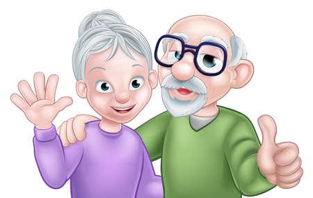 Anziani, anziano, cartone animato, coppia, coppia, con, moglie, donna, ondeggiare, marito, o, uomo, dando, thumbs up Archivio Fotografico - 64034801