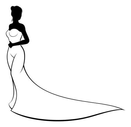 Een bruid in haar witte bruidsjurk op haar trouwdag in silhouet