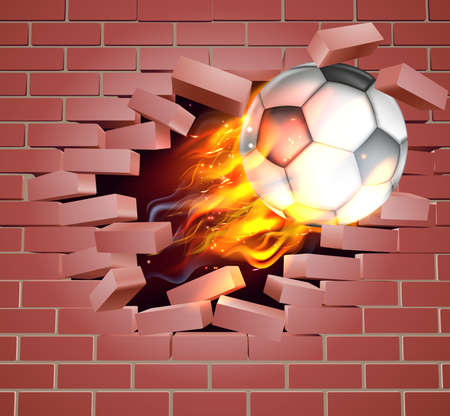 An illustration of a burning flaming Soccer Football ball on fire tearing a hole through a brick wall Ilustrace