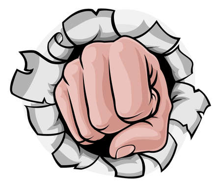 A cartoon hand in a fist punching knuckles front on punching a hole in the background