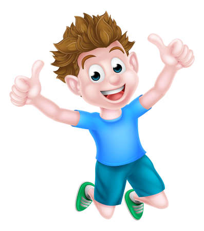 A happy cartoon young boy kid jumping for joy and giving two thumbs up.