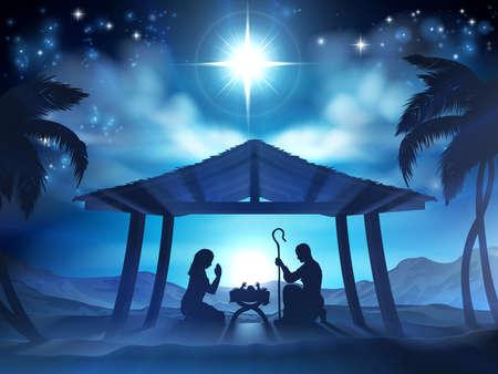 Kerst geboorte scène van het kindje Jezus in de kribbe met Maria en Jozef in silhouet