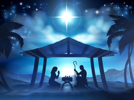 Christmas Nativity Scene of baby Jesus in the manger with Mary and Joseph in silhouette
