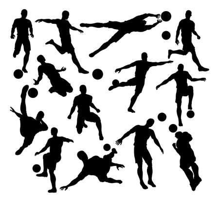Een set van Football Voetballer Silhouetten in veel verschillende poses Vector Illustratie