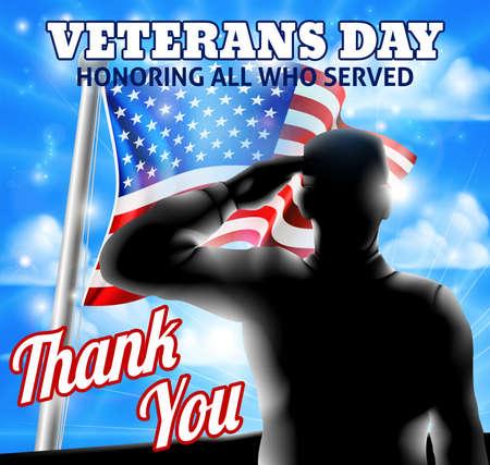 재향 군인과 깃대에 물결 치는 미국 국기를 경례하는 실루엣의 재향 군인의 날 디자인