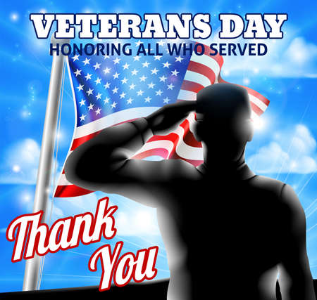 A Veterans Day design of a  silhouette saluting soldier and American Flag waving on a flagpole Illustration