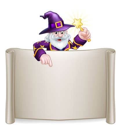 A cartoon wizard Halloween character holding a magic wand peeping over a scroll sign and pointing