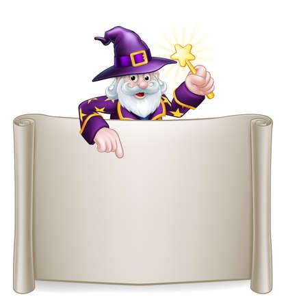 Un personaje de Halloween de asistente de dibujos animados sosteniendo una varita mágica asomando sobre un cartel de desplazamiento y señalando Ilustración de vector