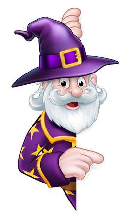 A cartoon Halloween wizard character peeking around a sign pointing