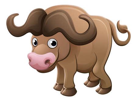 귀여운 아프리카 케이프 버팔로 동물 만화 캐릭터 마스코트