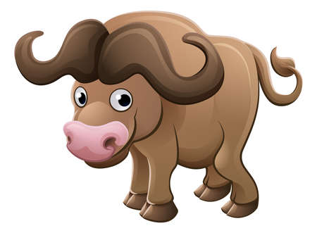 Un búfalo de cabo carácter de la mascota de dibujos animados lindo de animales de África