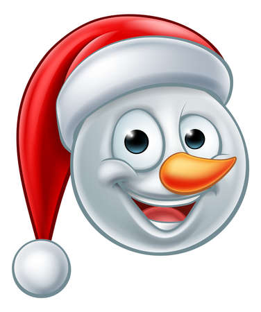 A snowman Christmas emoticon Emoji wearing a Santa hat
