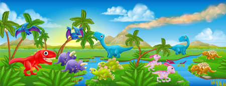 A cartoon Jurassic scene landscape with lots of cute friendly dinosaurs characters Illustration