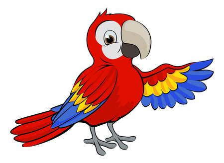 A cartoon red parrot bird pointing or waving with its wing
