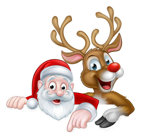 An illustration of a cute cartoon Santa and Christmas reindeer pointing at a sign Stock fotó - 63229285