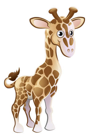 A cute giraffe animal cartoon character mascot Illustration