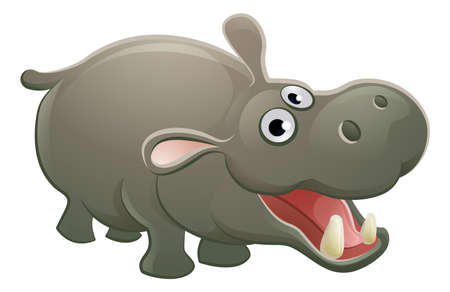 A cute hippopotamus hippo animal cartoon character mascot