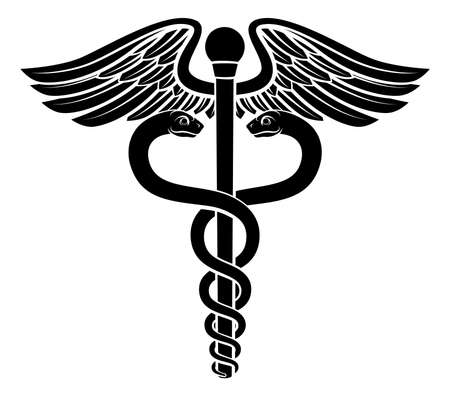 Caduceus symbol of two snakes intertwined around a winged rod. Associated with healing and medicine. Vector Illustration