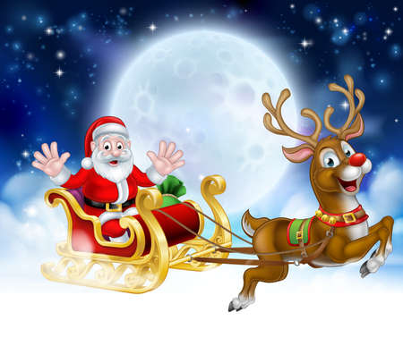 Christmas scene of Santa Claus cartoon character in his sled sleigh with his red nosed reindeer delivering gifts in flying in front of a full moon