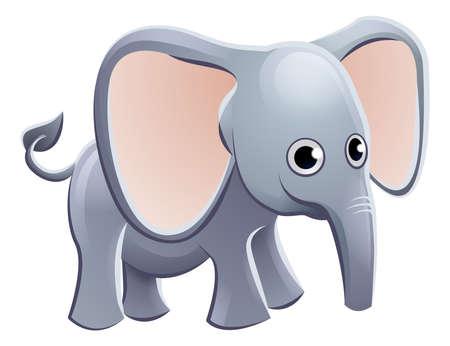 Ein netter Elefant Tier Cartoon Charakter Maskottchen Standard-Bild - 63229320