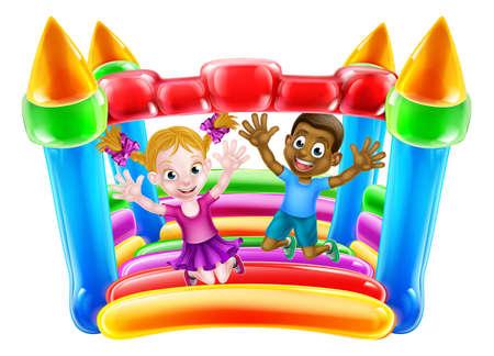 Cartoon bambini saltando su un castello gonfiabile Archivio Fotografico - 63229324
