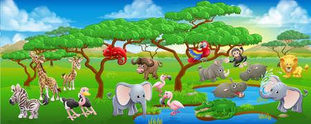 Un dibujo animado Safari animal de la escena del paisaje con un montón de personajes animales amistoso lindo Ilustración de vector