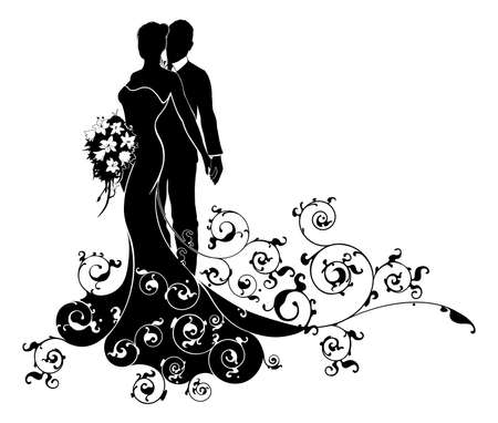 A bride and groom wedding couple in silhouette with the bride in a bridal dress gown holding a floral bouquet of flowers and an abstract floral pattern concept