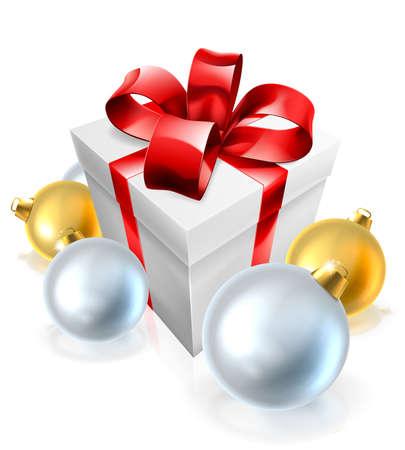 An illustration of a Christmas gift or present and bauble tree decorations Vektoros illusztráció