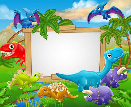 A sign surrounded by cute cartoon dinosaur characters Stok Fotoğraf - 63229333