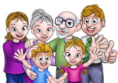 漫画の両親、子供と祖父母と家族  イラスト・ベクター素材