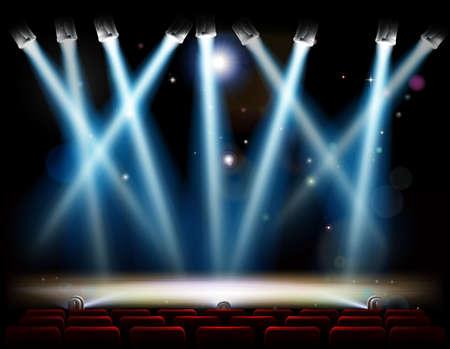 Ein Theater oder Theaterbühne und mit Rampe und Scheinwerfer und roten Publikum Sitze in Reihen Standard-Bild - 63229362