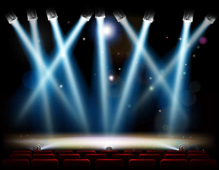 Una fase teatro o il teatro e con luci della ribalta e faretti e pubblico posti rossi in fila Vettoriali