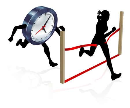 Eine Frau läuft Rennen gegen die Uhr Zeichen, um es bis zur Ziellinie zu schlagen