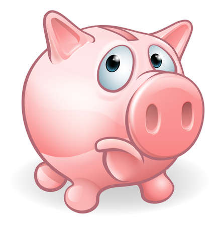 Sad cartoon Piggy Bank character concept