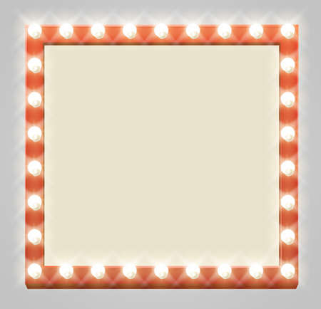 A light up retro theatre bulb border square sign Illustration