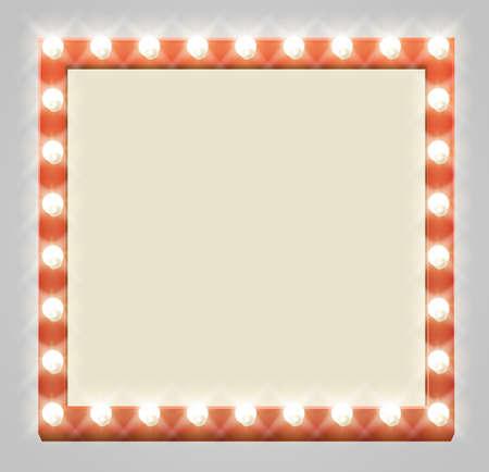 Un segno quadrato luminoso della lampadina del teatro di illuminazione Archivio Fotografico - 63229390