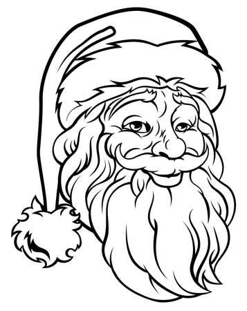 Retro original Christmas illustration of Santa Claus in a vintage woodcut style