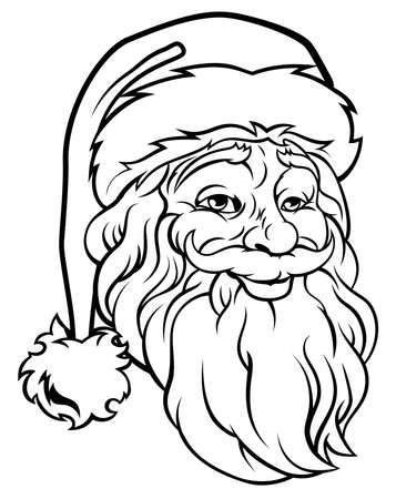 Retro original Christmas illustration of Santa Claus in a vintage woodcut style