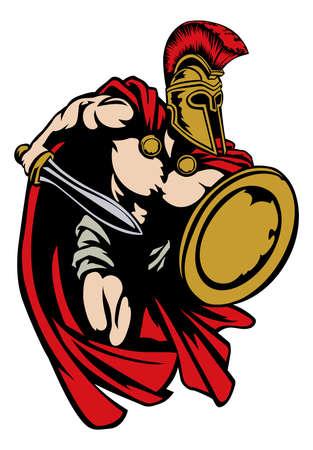 Spartan, Roman of Trojan gladiator oude Griekse krijger met zwaard Korinthische helm en schild Vector Illustratie