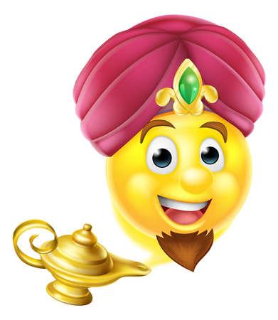 Genie emoticono emoji de dibujos animados como en el cuento de Aladdin que sale de una lámpara mágica Ilustración de vector