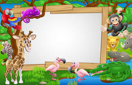 A sign surrounded by cute cartoon safari animals like flamingoes, giraffe, zebra lions and the like.  イラスト・ベクター素材