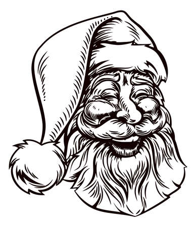 A retro original Christmas illustration of Santa Claus in a vintage woodcut style