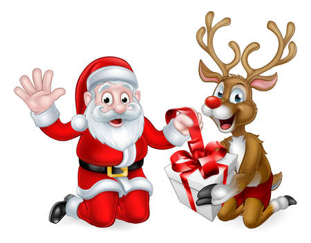Santa Claus and his Reindeer wrapping or unwrapping a Christmas gift Stok Fotoğraf - 64034815
