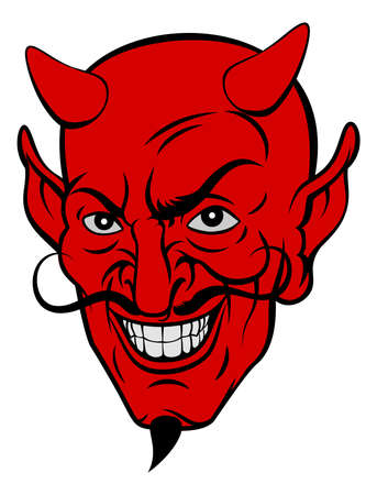 Rode duivel satan of Lucifer demon cartoon gezicht met hoorns en een sikje baard