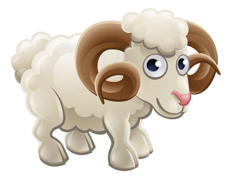 A cartoon cute ram farm animal character Illustration